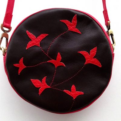 Alice Angevin Les Sacs à M'Alice Sac à Main Rond Marron tulipes volantes rouge près