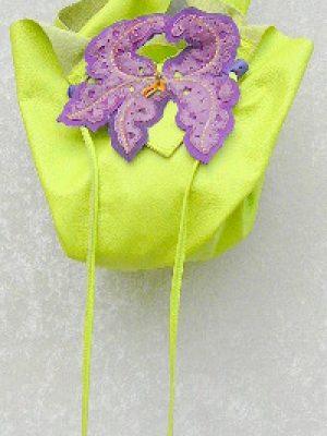 Alice Angevin, Les Sacs à M'Alice, Pochette Bonbon Anis, Iris violet, devant