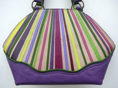 Alice Angevin, Les Sacs à M'Alice Sac à Main Elegant Bandes de cuirs parées Arrondi violet, galon anis