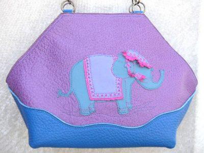 Alice Angevin, Les Sacs à M'Alice, Sac à Main Elegant Eléphant bleu sur buffle lilas