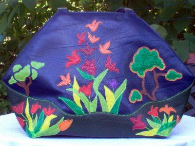 Alice Angevin, Les Sacs à M'Alice, Sac à Main Élégant Paysage Fleurs buffle bleu