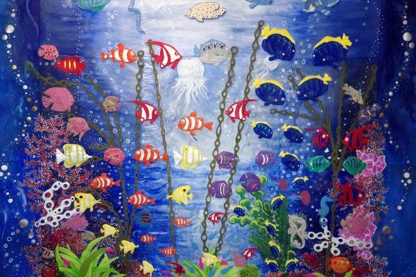 Alice Angevin, Les Sacs à M'Alice Tenture cuirs 150X150 plongée sous-marine