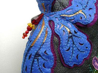 Les Sacs à M'Alice,Alice Angevin,détail Iris cuirs et pierres.